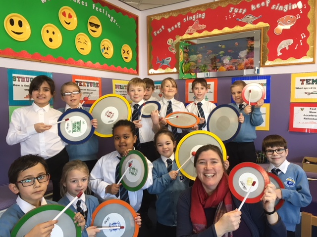 Jersey school children enjoy new samba drums